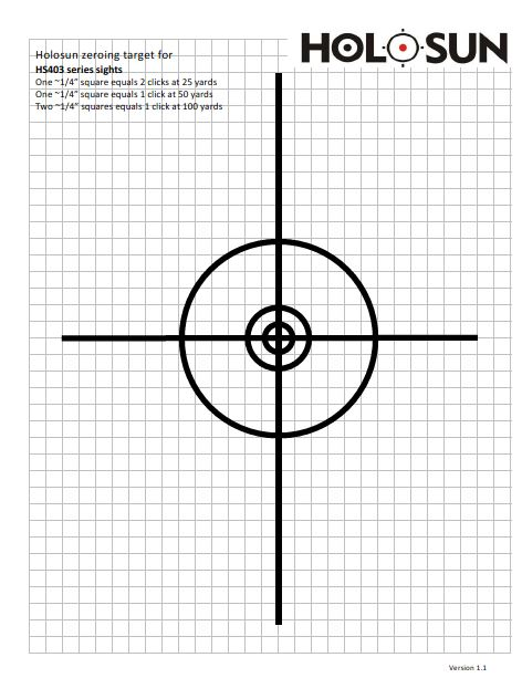 graphic regarding 100 Yard Zero Target Printable referred to as Holosun.ca - ZEROING Focus